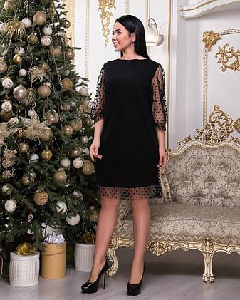 143c26c12a2 Нарядное черное платье-трапеция до колен с сеткой и рукавами в горошек