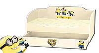 Кровать для девочки с ящиком серия Kinder Cool Minions
