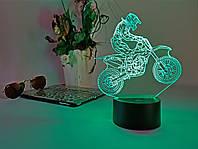 """Детский ночник - светильник """"Мотоцикл 6"""" 3D TOYSLAMP"""