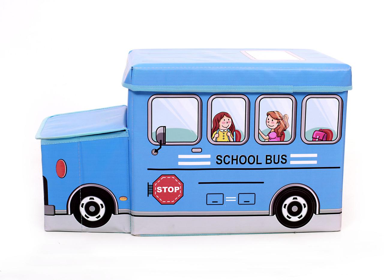 Детский пуф Автобус Синий