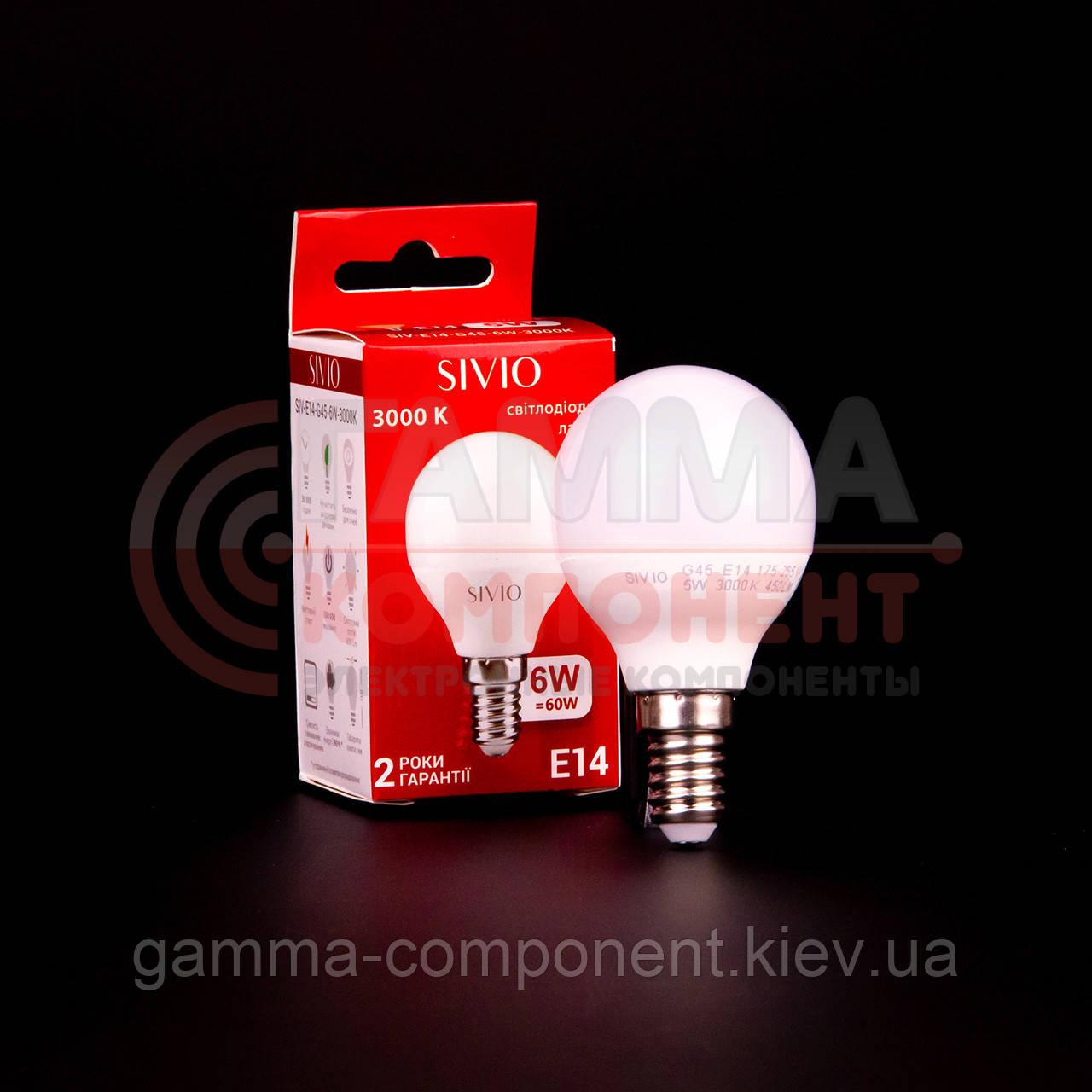 Светодиодная лампа SIVIO G45 6W, E14, 3000K, теплый белый
