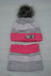 Комплект зимовий в смужку: шапка з шарфом-трубою для дівчинки (AJS, Польща)