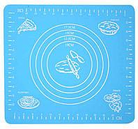 🔝 Силиконовый коврик для раскатки теста, и выпекания, в духовке, 29x26 см., цвет - голубой | 🎁%🚚