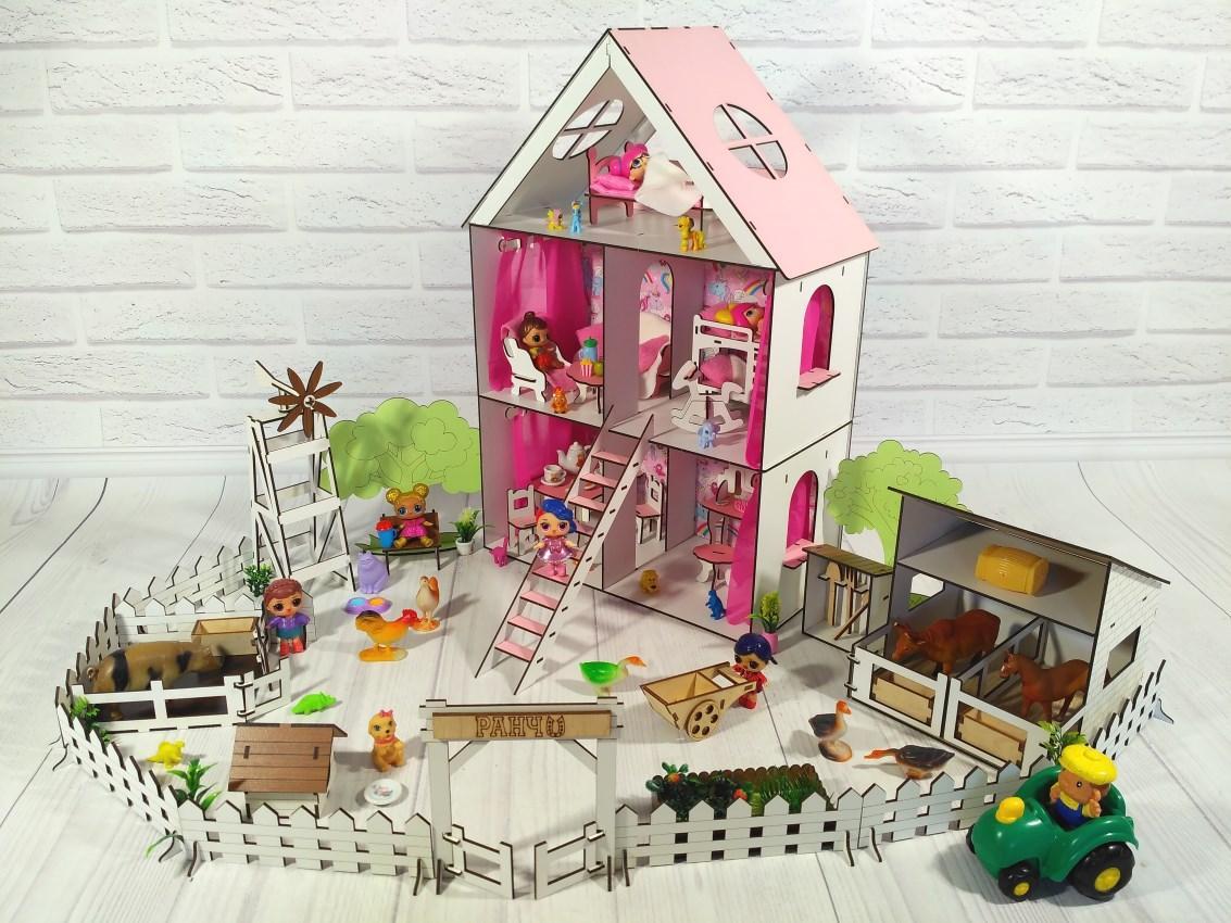 Кукольный Домик для Lol Little Fun maxi  + мебель + текстиль + Ферма
