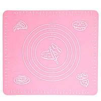 🔝 Коврик для выпечки, и раскатывания теста, силиконовый, антипригарный, 29x26 см., цвет - розовый | 🎁%🚚