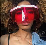 Модні сонцезахисні окуляри з великою оправою пляжного типу. Червоні Окуляри