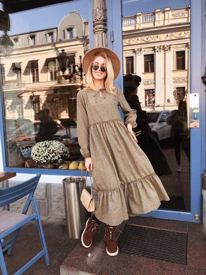 Теплое платье свободного кроя (SM и LXL)