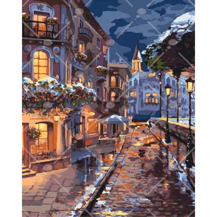 Картина за номерами КНО3542 Зимове містечко, 40x50 см., Ідейка