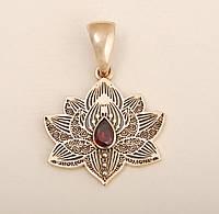 Кулон Цветок Лотоса бронза вставки из натуральных камней