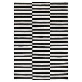 IKEA STOCKHOLM (801.048.62) Килим тканий плоский, чорний ручної роботи, смугастий, з кремово-смугастої