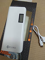 Внешний аккумулятор Power Bank Cord L-011 LCD 10000mAh White/Gray Гарантия 12 месяцев, фото 2