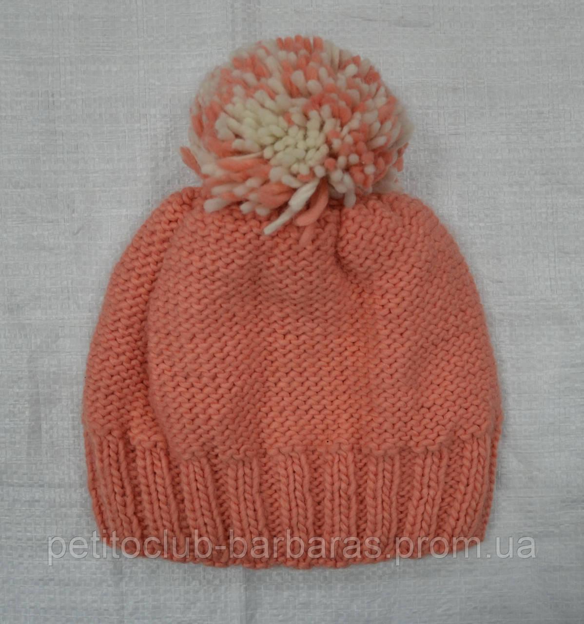 Зимняя шапка с балабоном для девочки персиковая (AJS, Польша)