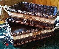 Корзинка плетеная из мешковиной