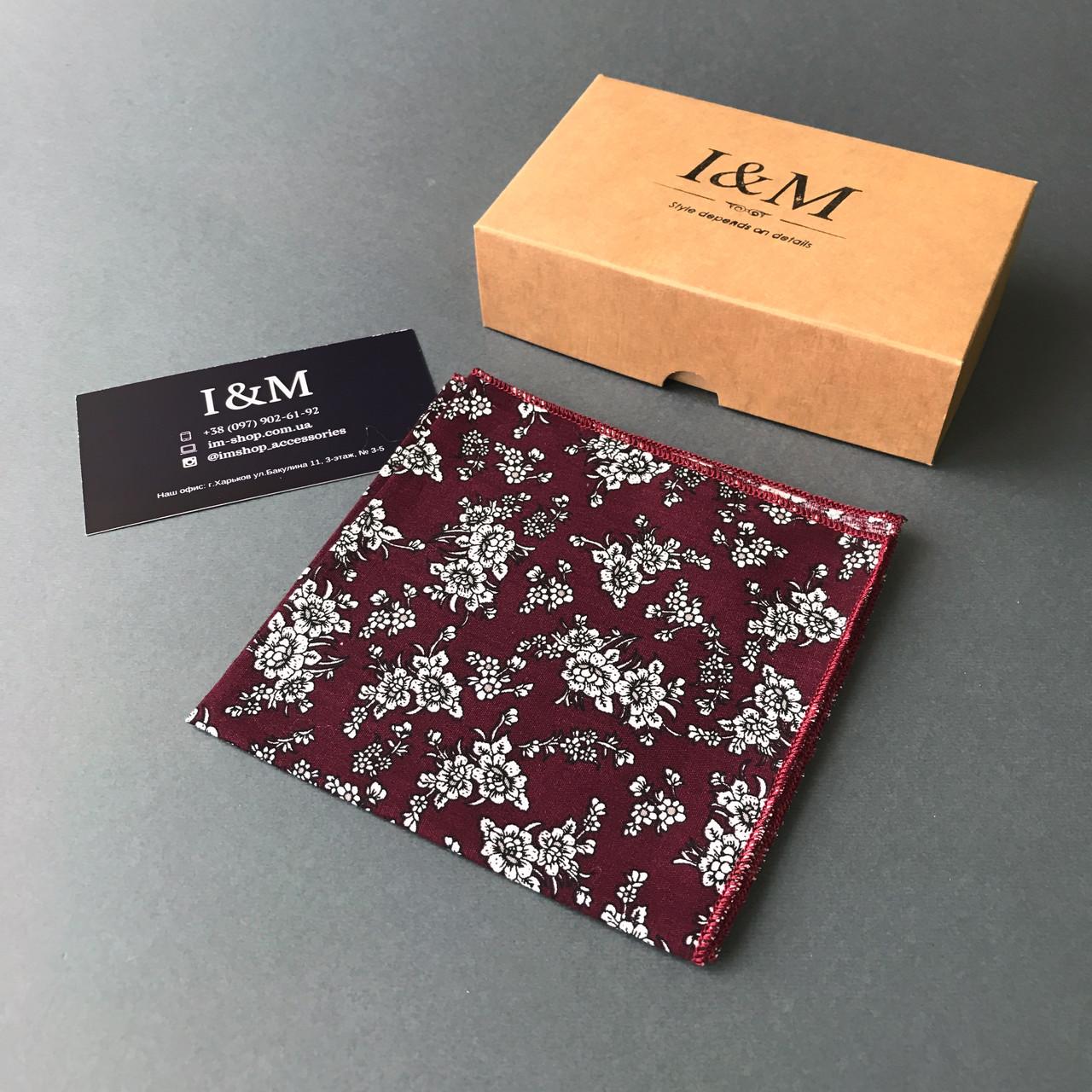 Платок нагрудный I&M Craft бордовый в белые цветы (011135P)