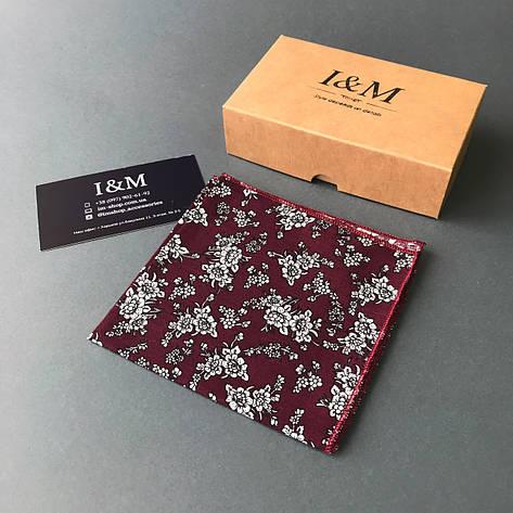 Платок нагрудный I&M Craft бордовый в белые цветы (011135P), фото 2