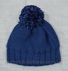 Зимова шапка з балабоном для дівчинки синя (AJS, Польща)