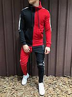 Мужской спортивный костюм двух нить  с капюшоном черный+красный