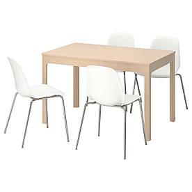 IKEA EKEDALEN / LEIFARNE (492.214.63) Стіл і 4 стільця, береза, біла