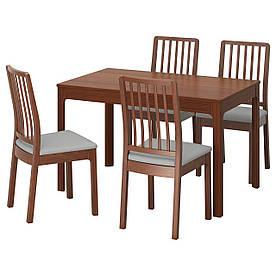 IKEA EKEDALEN / EKEDALEN (292.214.35) Стіл і 4 стільця коричневий, Orrsta світло-сірий