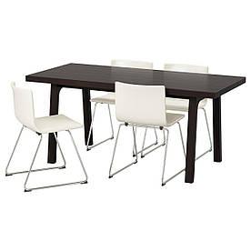 IKEA VASTANBY/VASTANA / BERNHARD (191.031.83) Стіл і 4 стільця, темно-коричневий