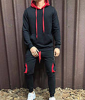 Мужской спортивный костюм черно-красный с капюшоном