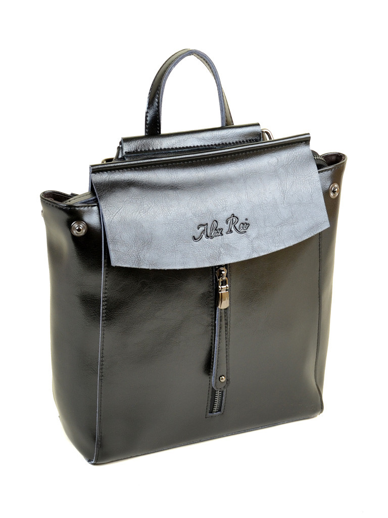 7f18abc585a4 Женский стильный рюкзак черный натуральная кожа ALEX RAI: продажа ...