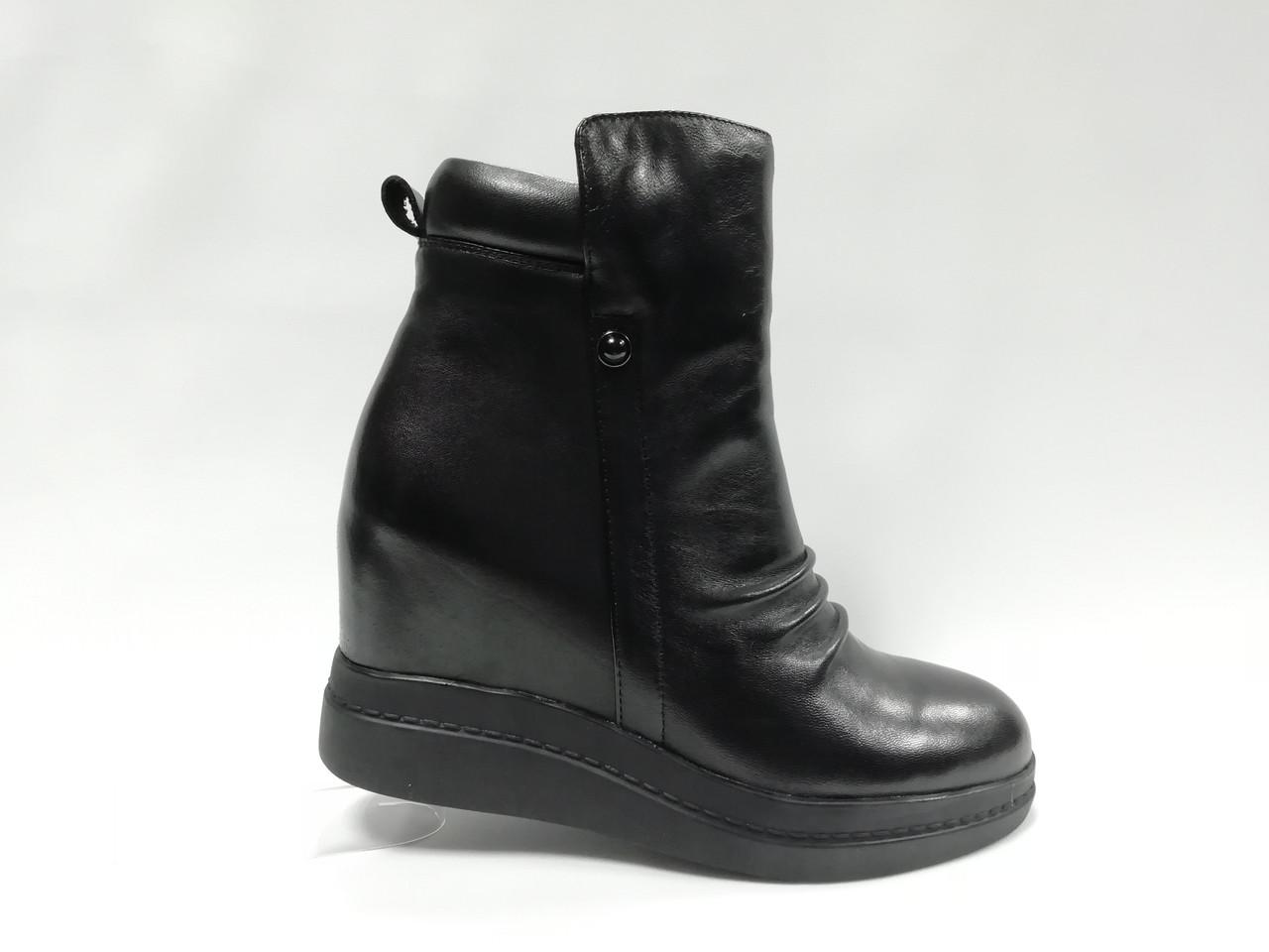 Чорні шкіряні черевики на танкетці. Маленькі розміри.