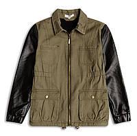 Куртка хаки с кожаными вставками для девочки, Sugar Squad, 16055