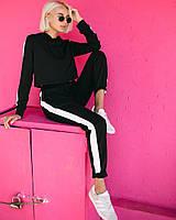 Женский спортивный костюм с укороченной кофтой и лампасами. Разные цвета, фото 1