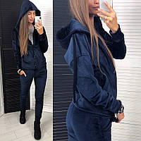 Женский трендовый спортивный костюм (велюр на дайвинге) Цвет: марсал, чёрный, синий, фото 1