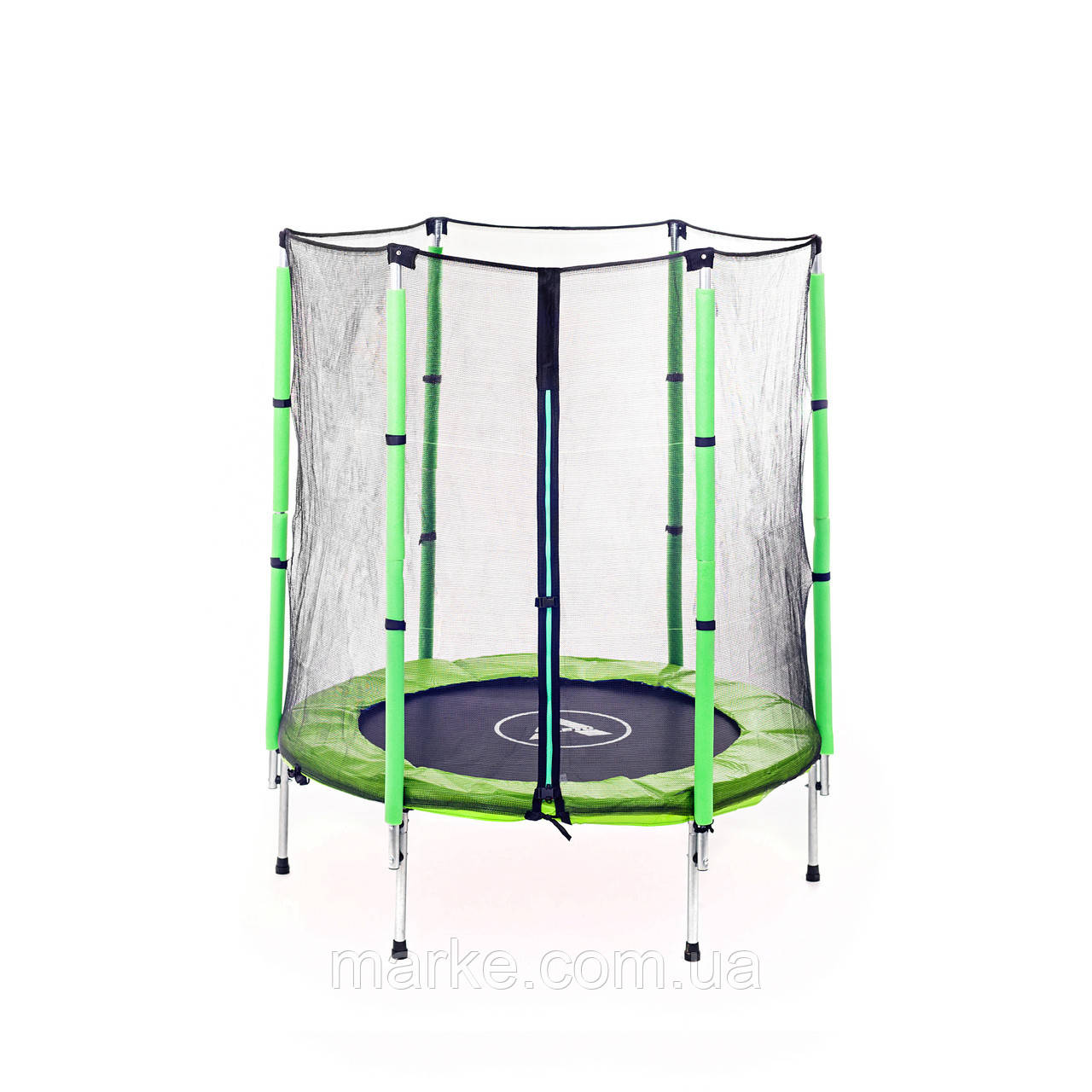 Батут Атлето зелёный Atleto 140 см 4,5ft диаметр с внешней сеткой спортивный для детей
