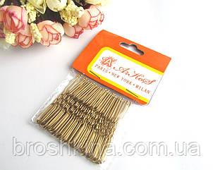 Шпильки для волосся короткі 5 см золотисті 50 шт/уп.