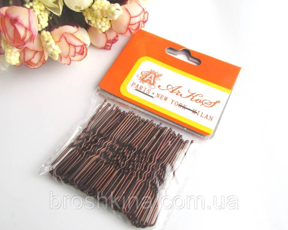 Шпильки для волос короткие 5 см коричневые 50 шт/уп.