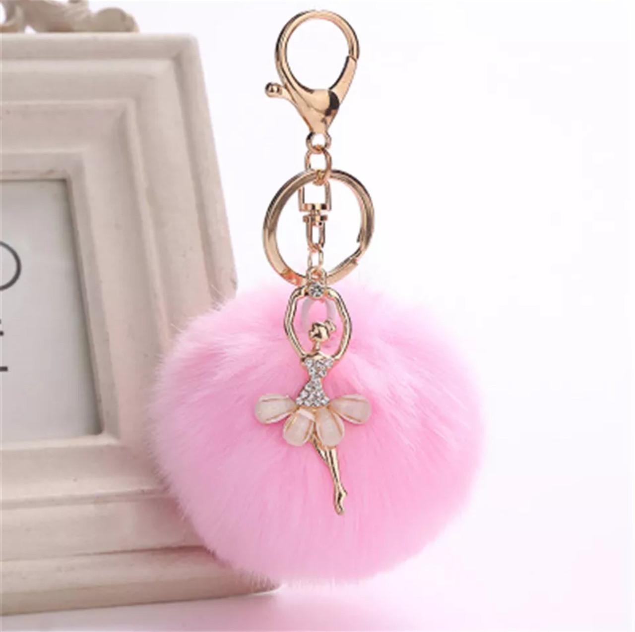 Милый брелок для ключей-помпон с балеринкой на сумку, пальто или ключи (розовый)