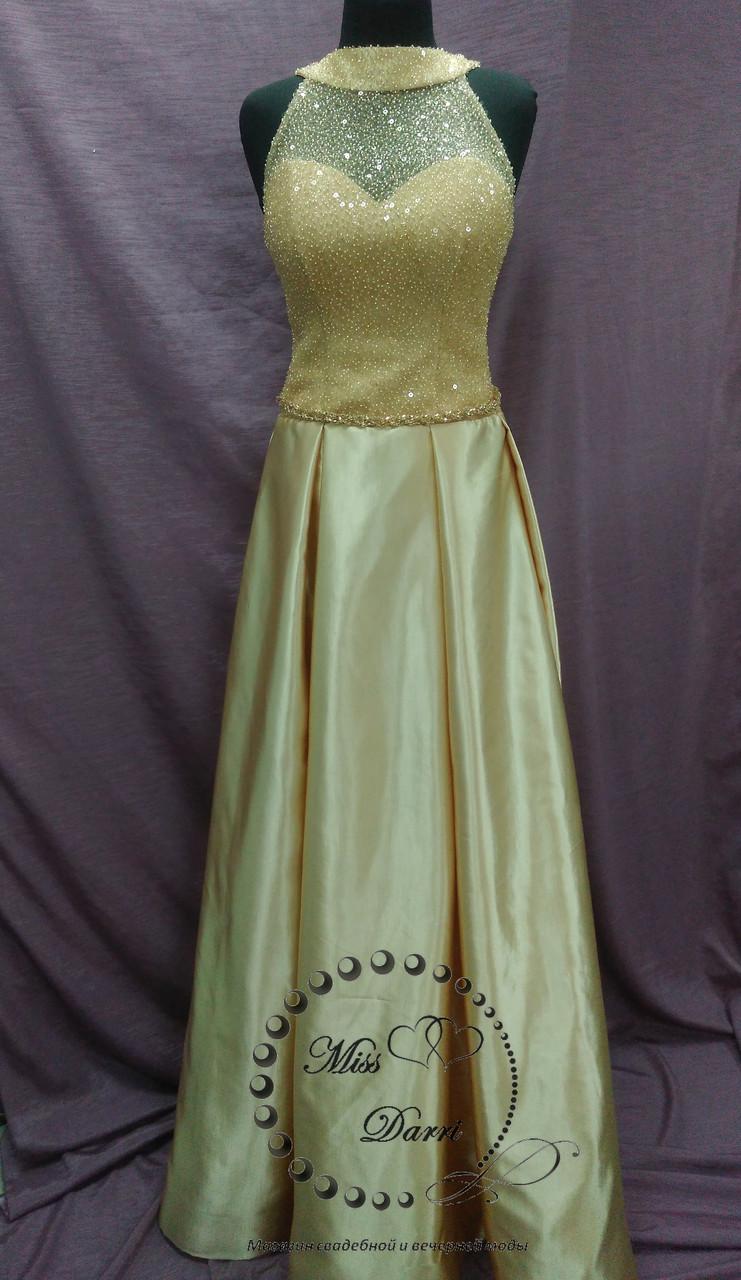 Вечернее выпускное платье длинное золотое на корсете, расшитом бисером