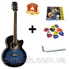 Гитара акустическая Equites EQ700C BL (медиатор и струна в подарок), синий