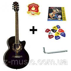 Гитара акустическая Equites EQ700C VTS (медиатор и струна в подарок), фиолетовая