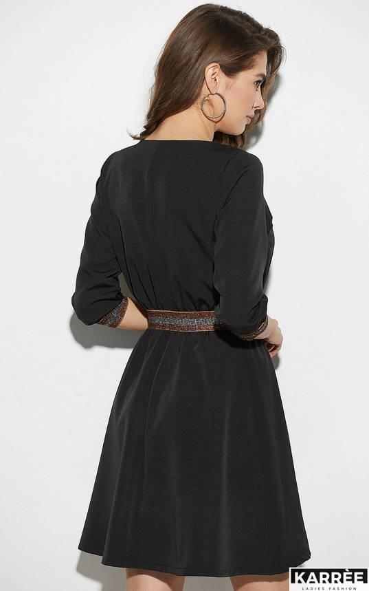 Стильное черное платье на молнии с высокой талией, фото 2