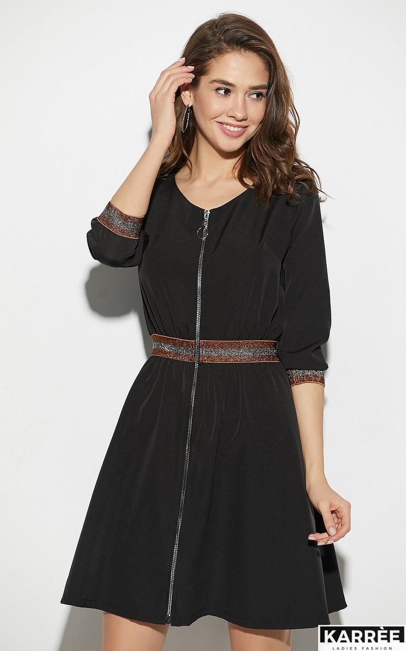 Стильное черное платье на молнии с высокой талией