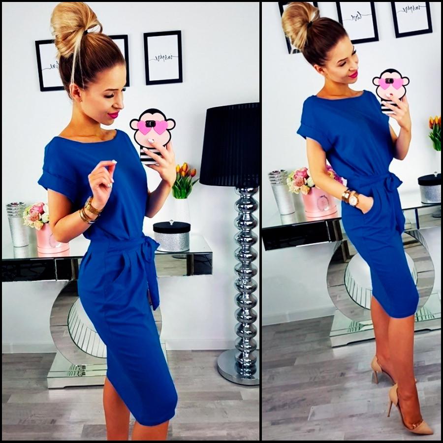 Свободное платье цвета электрик Rita (Код MF-180)