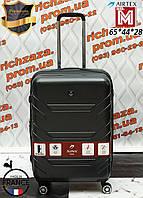 Французский ударостойкий чемодан Средний на 4-х колесах AIRTEX 7313 M серый Одесса
