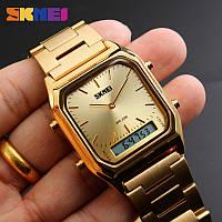Мужские классические часы Skmei 1220 золотого цвета, фото 1