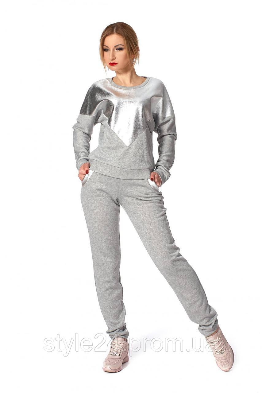 Жіночий брючний костюм зі срібним напиленням ,новинка.Р-ри 44-48