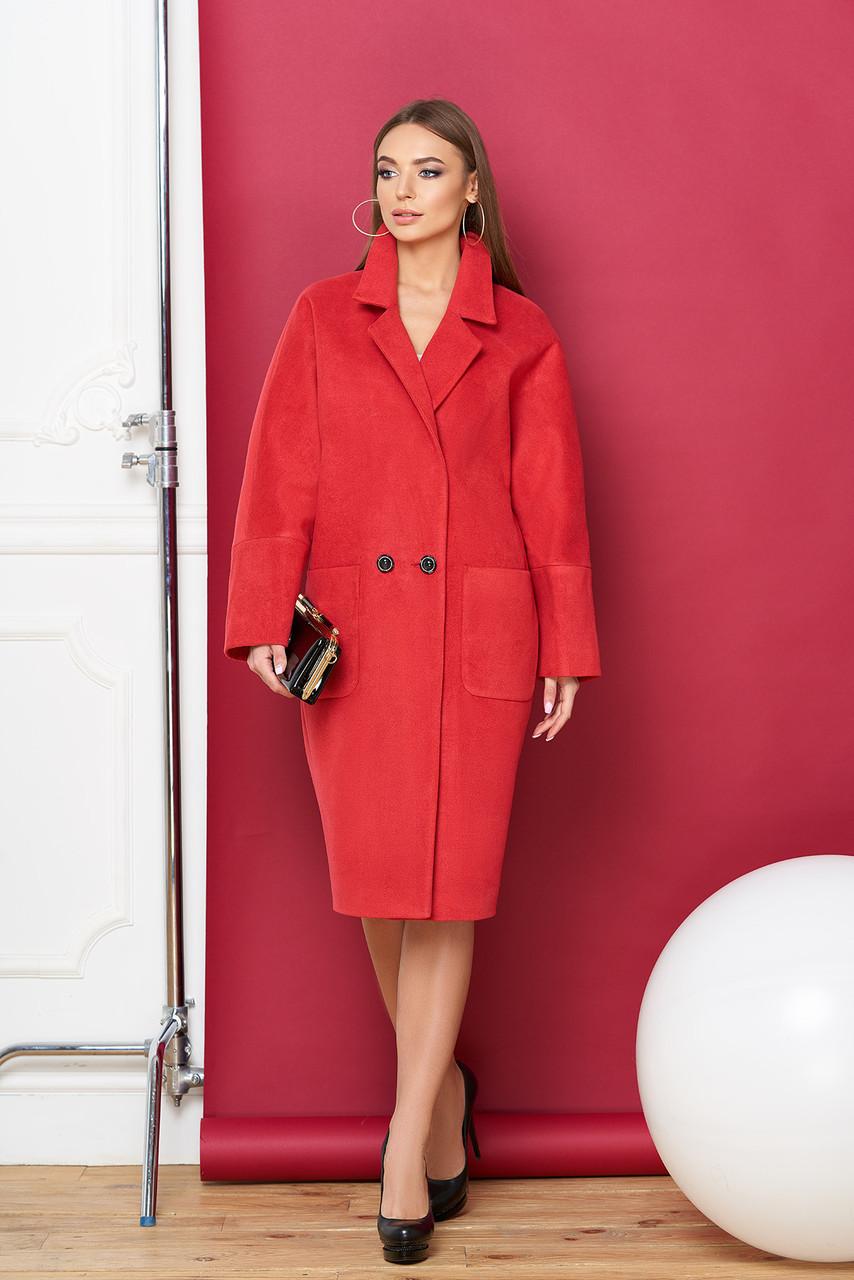Красное кашемировое пальто кокон весна осень двубортное