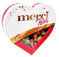 Шоколадные конфеты ассорти Merci Petits Heart в форме сердца, 250 гр