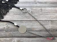 19218 серебристая цепочка и черный шнурок подвеска (47 см) на шею длинная