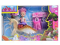 Кукла маленькая с лошадкой,платьями,расческой,сумкой... в кор. 25*16*5см /144-2/(66433)