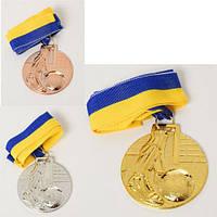 Медаль 6см, лента(голубой+желтый), футбол, 3 цвета, в пак. 6*6*1,5см (360шт)(MS1407-1)