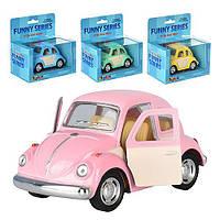 """Машина метал. """"Kinsmart"""" Volkswagen Classical Beetle (Color Door) 1967, в кор.16*8,5*7,5см (144шт/6)(KT4026WC)"""