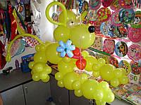 Милая собачка с цветком из шаров